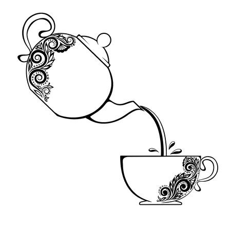 花の要素とティーポットとカップの輪郭。
