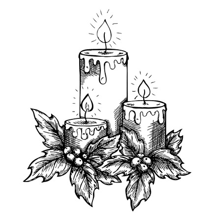 graphic drawing candles and holly berries and leaves  sketch freehand pen and ink Stock Vector - 24240288