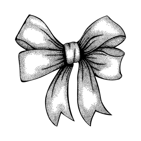 Beautiful ribbon tied in a bow  Freehand drawing in graphic style pen and ink  Ilustração
