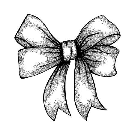 mani legate: Bella nastro legato in un disegno a mano libera arco a penna stile grafico e inchiostro