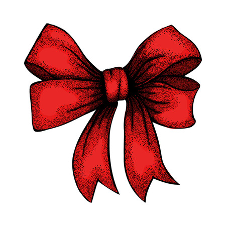 hand knot: Beautiful ribbon tied in a bow  Freehand drawing in graphic style pen and ink  Illustration
