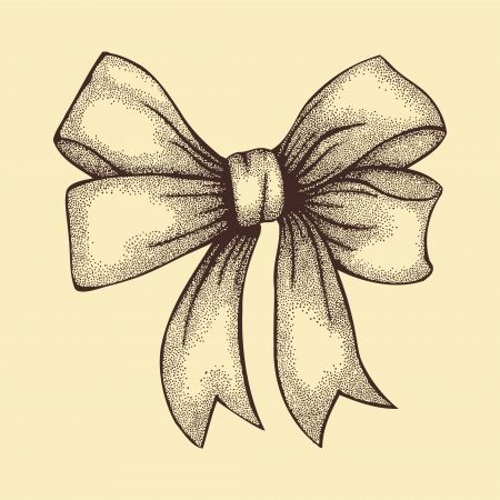 Beautiful ribbon tied in a bow  Freehand drawing in graphic style pen and ink  Vector