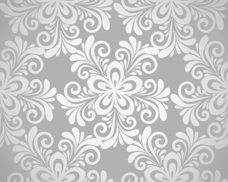 paper curl: excellent seamless floral background with flowers in silver  Many similarities to the author Illustration