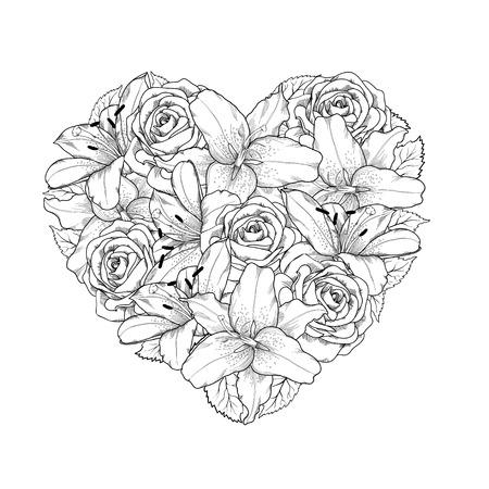 Belle coeur décoré de fleurs, de roses et de lys de couleur noir et blanc Symbole de vacances de Saint-Valentin Banque d'images - 25041952