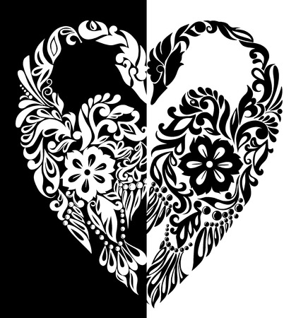 black and white swans from flowers, leaves and curls, in the form of heart Vector