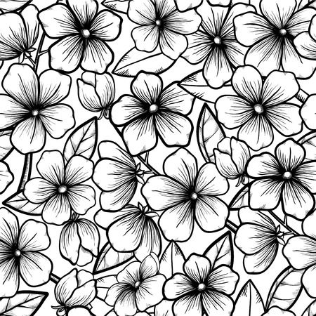 Beautiful seamless background in black-and-white style. Blossoming branches of trees. Outline of flowers. Symbol of spring. Vettoriali
