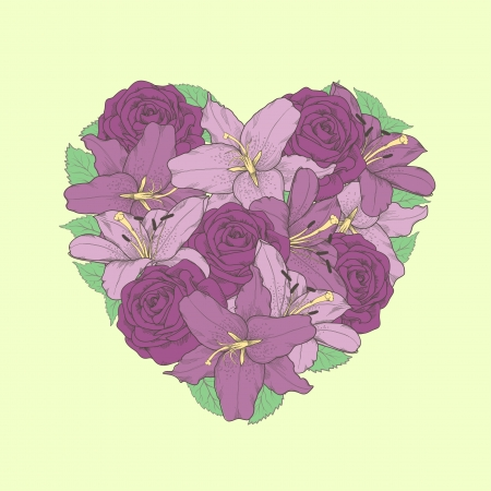 A beautiful arrangement of flowers, lilies and roses in the shape of a heart. Beautiful postcard Valentine's day. Vector