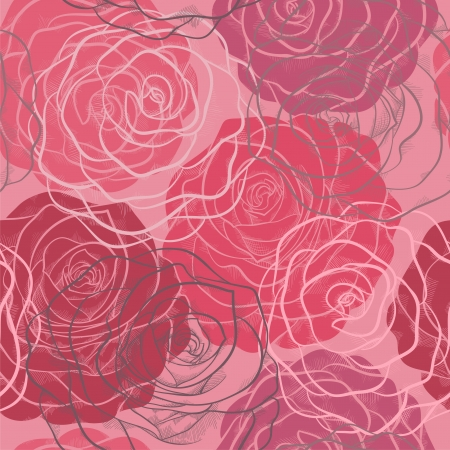 beautiful seamless pattern in red and pink roses with contours Vector