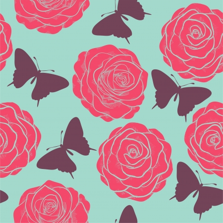 Beautiful seamless pattern with roses and silhouettes of butterflies. Painted in pastel colors in graphic style Vector