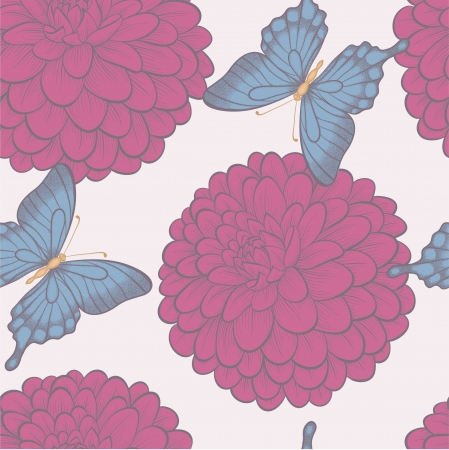 Seamless background with beautiful butterflies and flowers dahlias in vintage pastel colors. Vector