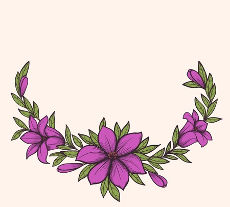 Background for a card with a graphic flower and leaves Vector