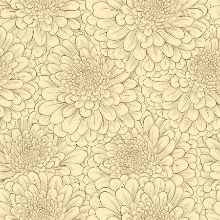 Beautiful seamless pattern with hand-drawn flowers in vintage colors