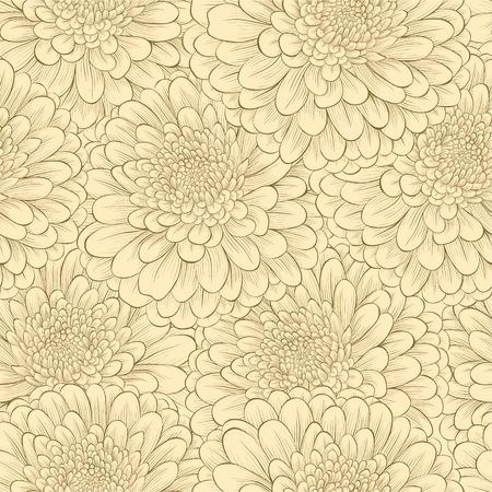 Mooie naadloze patroon met de hand getekende bloemen in vintage kleuren