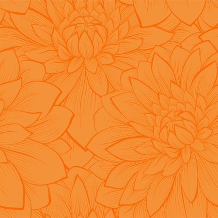 Beautiful seamless pattern with blooming yellow dahlias closeup  Hand drawn in graphic style Vector