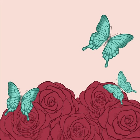 beautiful background for greeting cards and text with butterflies and roses  in a hand-drawn graphic style in vintage colors Vector
