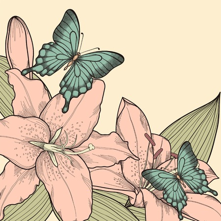 beautiful background for a card with butterflies, lily, leaves and buds   in a hand-drawn graphic style in vintage colors Vector