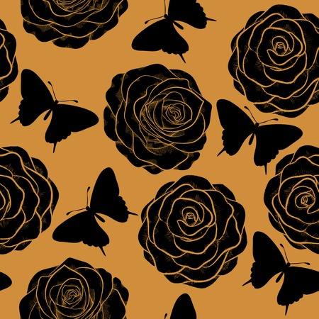 Beautiful seamless pattern with roses and silhouettes of butterflies.  in a hand-drawn graphic style in vintage colors Vector