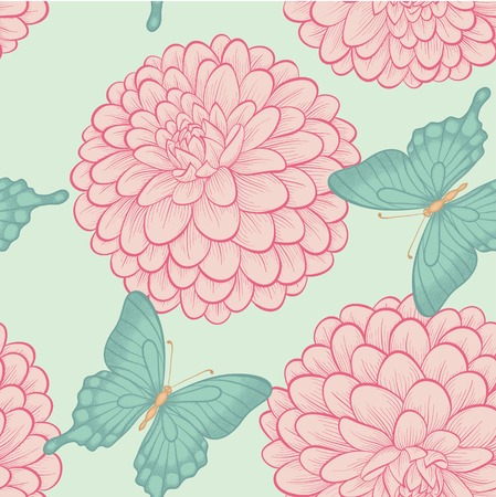 Seamless background with beautiful butterflies and flowers dahlias in a hand-drawn graphic style in vintage colors Vector