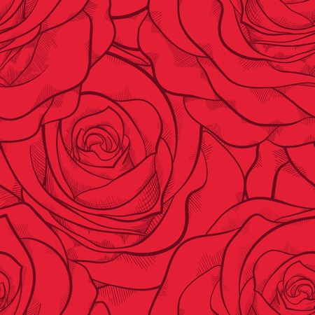 beautiful seamless pattern in red roses with contours. Hand-drawn contour lines and strokes. Perfect for background greeting cards and invitations to the day of the wedding, birthday and Valentine's Day