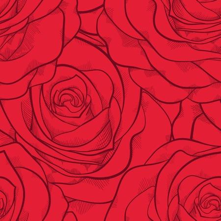 Hermoso patrón transparente en rosas rojas con contornos. Curvas de nivel dibujadas a mano y accidentes cerebrovasculares. Perfecto para las tarjetas de felicitación de fondo y las invitaciones para el día de la boda, el cumpleaños y el Día de San Valentín Foto de archivo - 25952490