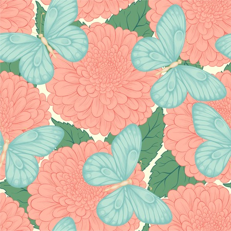 Beautiful seamless pattern with flowers chrysanthemums, leaves and butterflies. Hand-drawn contour lines and strokes. Perfect for background greeting cards and invitations to the day of the wedding, birthday and Valentine's Day Vector