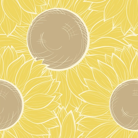Beautiful seamless background with vintage sunflowers. Hand-drawn contour lines and strokes. Vector