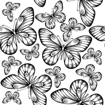 Beautiful seamless background of butterflies black and white colors. Hand-drawn contour lines and strokes. Vector