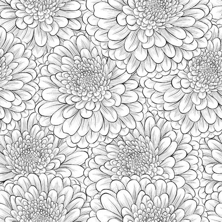 モノクロ黒と白の花と美しいシームレスな背景。手で描かれた輪郭線とストローク。