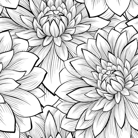 Beautiful seamless background with monochrome black and white flowers. Hand-drawn contour lines and strokes. Vector