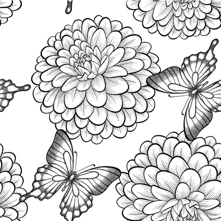 Beautiful seamless background with monochrome black and white butterflies and dahlias. Hand-drawn contour lines and strokes. Vector