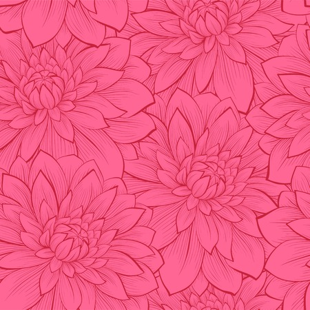Beautiful seamless background with flowers. Hand-drawn contour lines and strokes. Perfect for background greeting cards and invitations to the day of the wedding, birthday Vector
