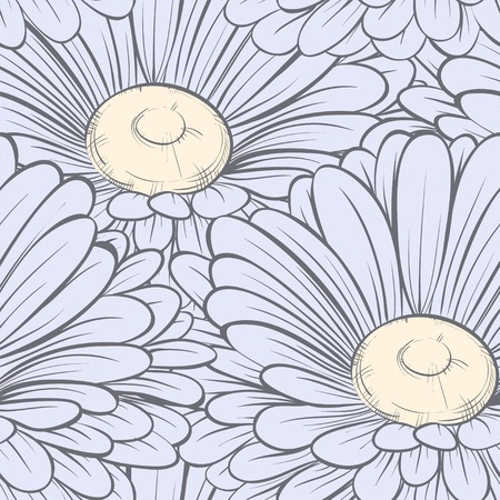Beautiful seamless background with flowers. Hand-drawn contour lines and strokes.. Hand-drawn contour lines and strokes. Perfect for background greeting cards Vector