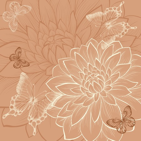 beautiful background with flowers dahlia and butterflies. Vintage color. Hand-drawn contour lines and strokes. Perfect for background greeting cards and invitations to the day of the wedding, birthday and Valentines Day Vector