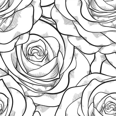 beautiful black and white seamless pattern in roses with contours. Hand-drawn contour lines and strokes. Perfect for background greeting cards and invitations to the day of the wedding, birthday and Valentines Day Vector