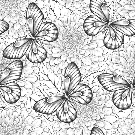 美しい花と蝶のシームレスなパターンの黒と白。手で描かれた輪郭線とストローク。背景グリーティング カード、結婚式、誕生日、バレンタインデ