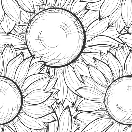 textile image: beautiful black and white seamless background with sunflowers. Hand-drawn contour lines and strokes. Perfect for background greeting cards and invitations to the day of the wedding, birthday and Valentines Day