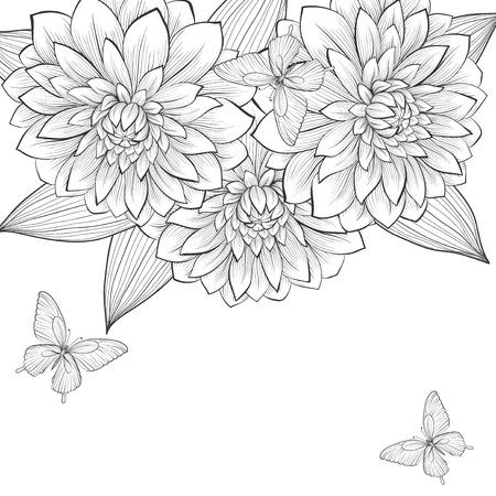 달리아: 아름다운 흑백 블랙 달리아 꽃과 나비의 프레임 흰색 배경. 손으로 그린 윤곽선과 뇌졸중. 결혼식, 생일과 발렌타인 데이의 하루 배경 인사말 카드 및 초대장을위한 완벽한