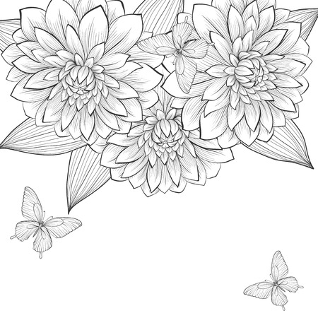 beautiful monochrome black and white background with frame of dahlia flowers and butterflies. Hand-drawn contour lines and strokes. Perfect for background greeting cards and invitations to the day of the wedding, birthday and Valentines Day Vector