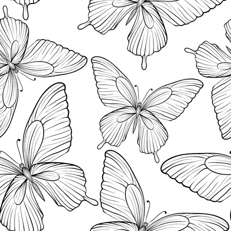Beautiful seamless background of butterflies black and white colors. Hand-drawn contour lines and strokes. Perfect for background greeting cards and invitations to the day of the wedding, birthday and Valentines Day. Vector