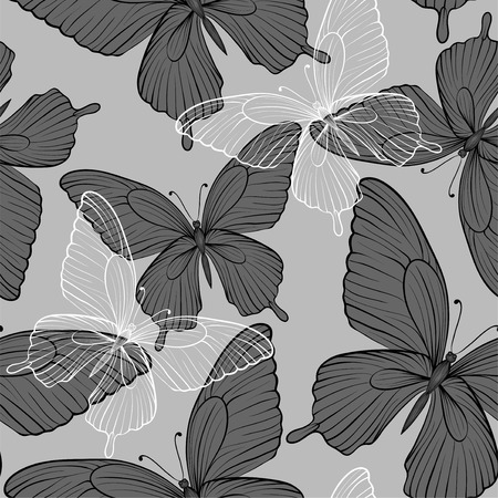 beautiful monochrome black and white seamless with flying butterflies.  Vector