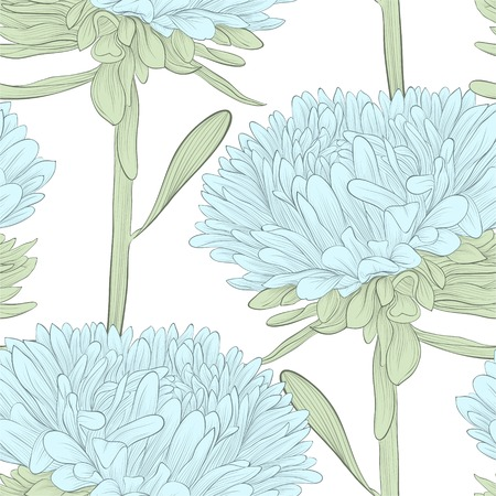 Beautiful seamless with blue flowers aster on a white. Hand-drawn contour lines and strokes. Perfect for greeting cards and invitations to the day of the wedding, birthday and Valentines Vector