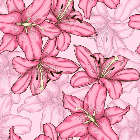 Beautiful seamless background with pink lily. Hand-drawn contour lines and strokes.