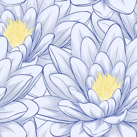 waterlily: Beautiful seamless pattern with lotus flowers. Hand-drawn contour lines and strokes.  Illustration