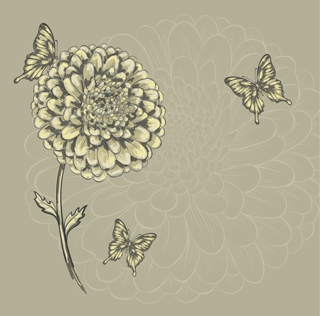beautiful flower with butterflies. Hand-drawn contour lines and watercolor effect . Vector