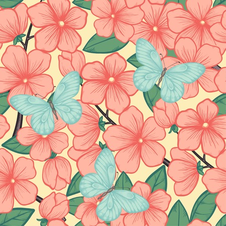 Beautiful seamless background with branches of flowering trees and butterflies.