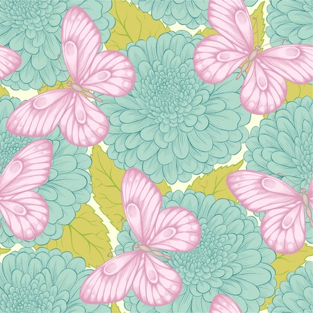 Beautiful seamless pattern with flowers chrysanthemums, leaves and butterflies.  Vector