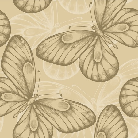 Beautiful seamless background with brown butterflies. Vector
