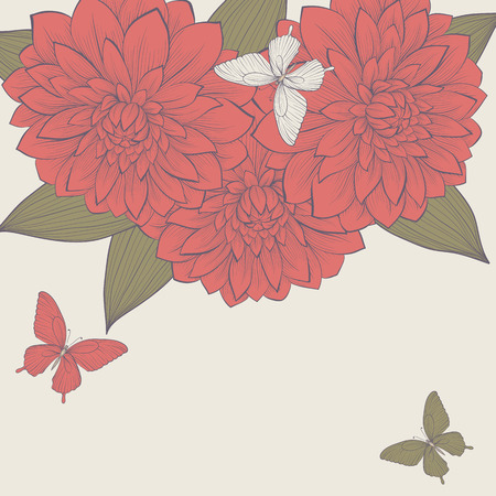 beautiful background with frame of dahlia flowers and butterflies. Vector