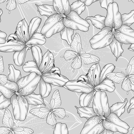 Beautiful monochrome, black and white seamless background with lilies and butterflies  Hand-drawn contour lines and strokes  Perfect for background greeting cards and invitations to the day of the wedding, birthday, Valentine Vector