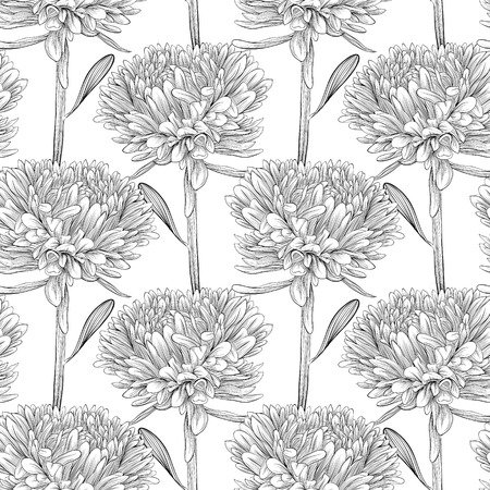 Beautiful monochrome, black and white seamless background with flowers aster  Hand-drawn contour lines and strokes  Perfect for background greeting cards and invitations of the wedding, birthday Vettoriali
